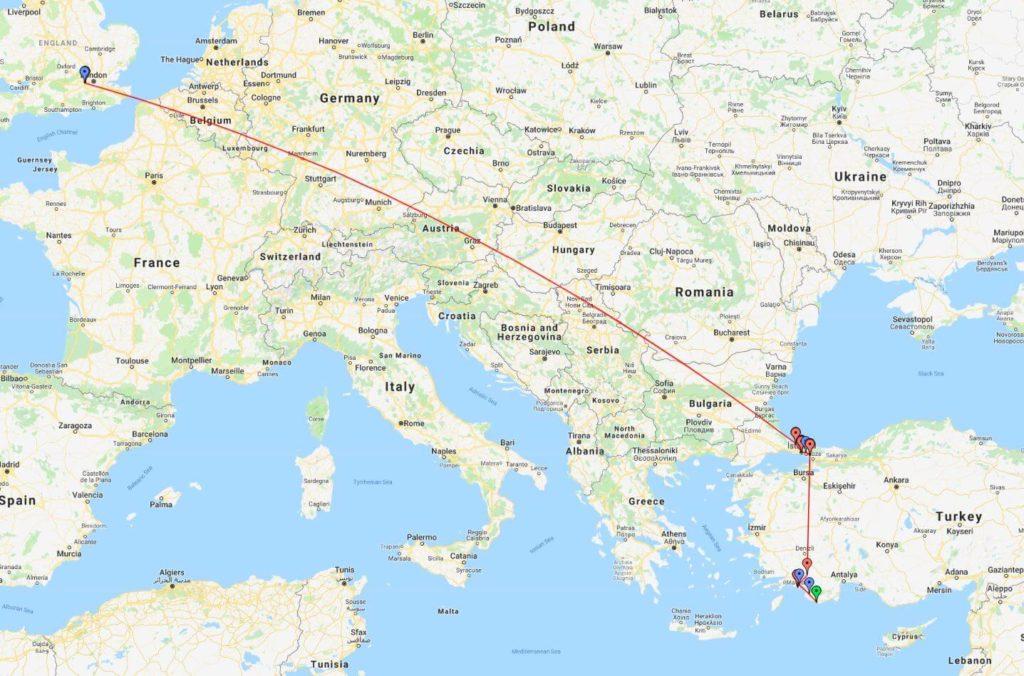 England to Turkey to south of Turkey