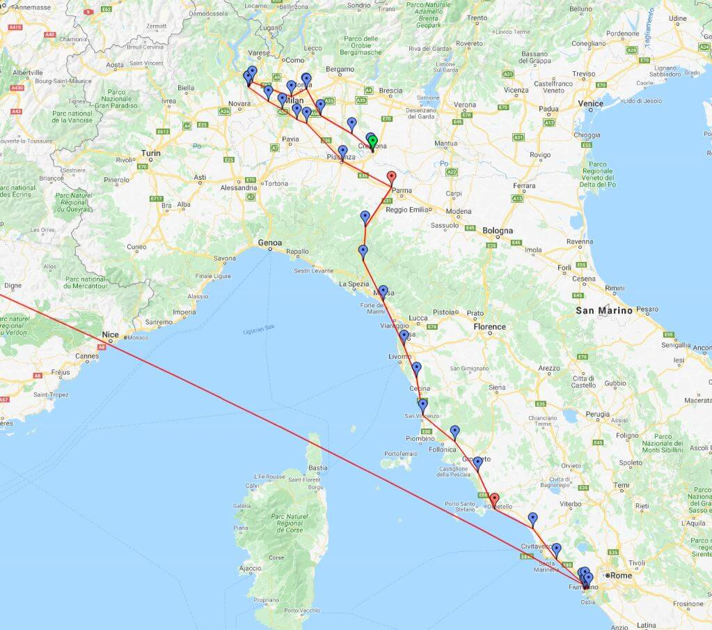 Rome to Cremona